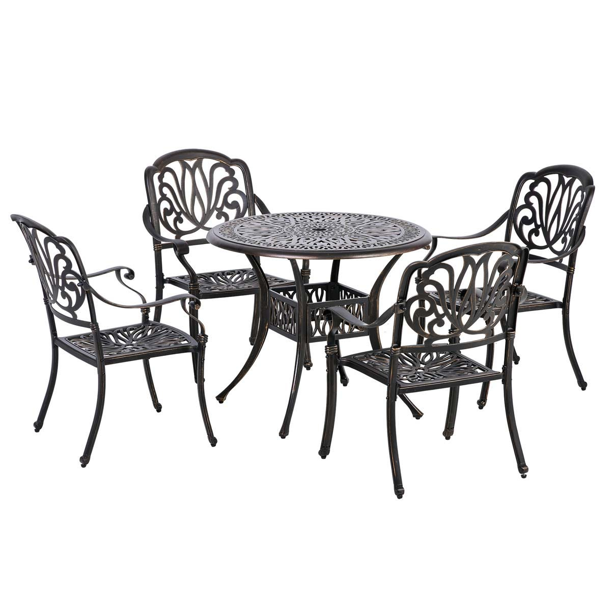Outsunny 4 Seater Round Garden Dining Set - Bronze