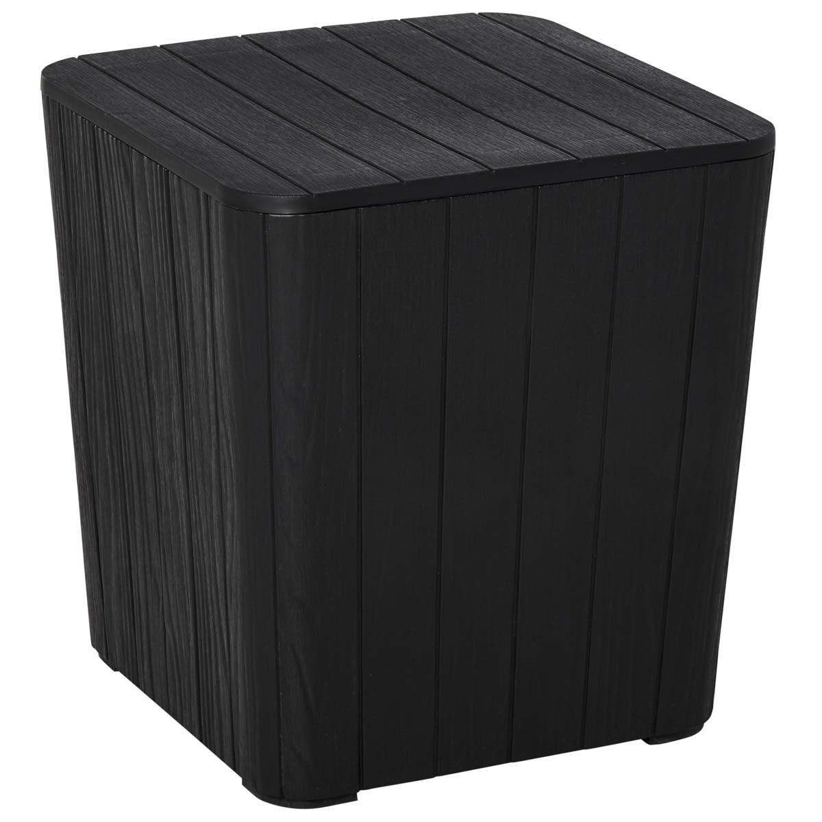 Outsunny 50L Wood Effect Storage Box Table - Black