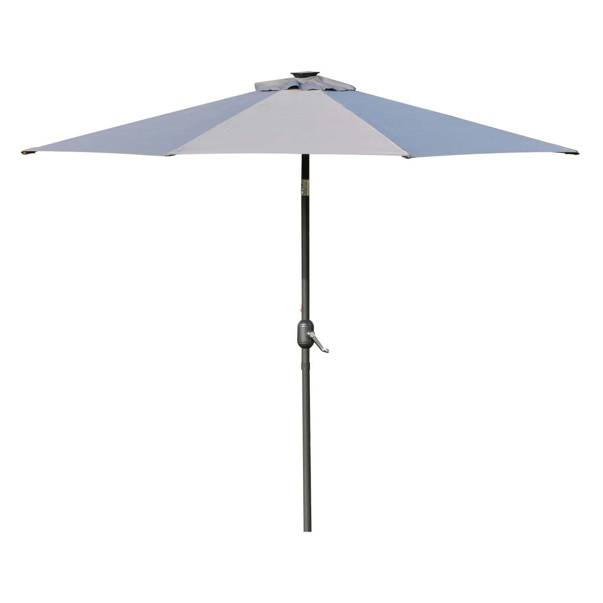 Outsunny 2.7m Parasol with LED Lighting (base not included) - Grey