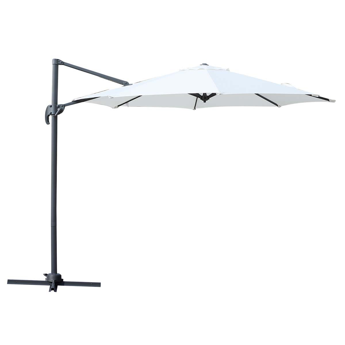Outsunny Roma Cantilever Parasol with 360 Rotation (base not included) - Cream