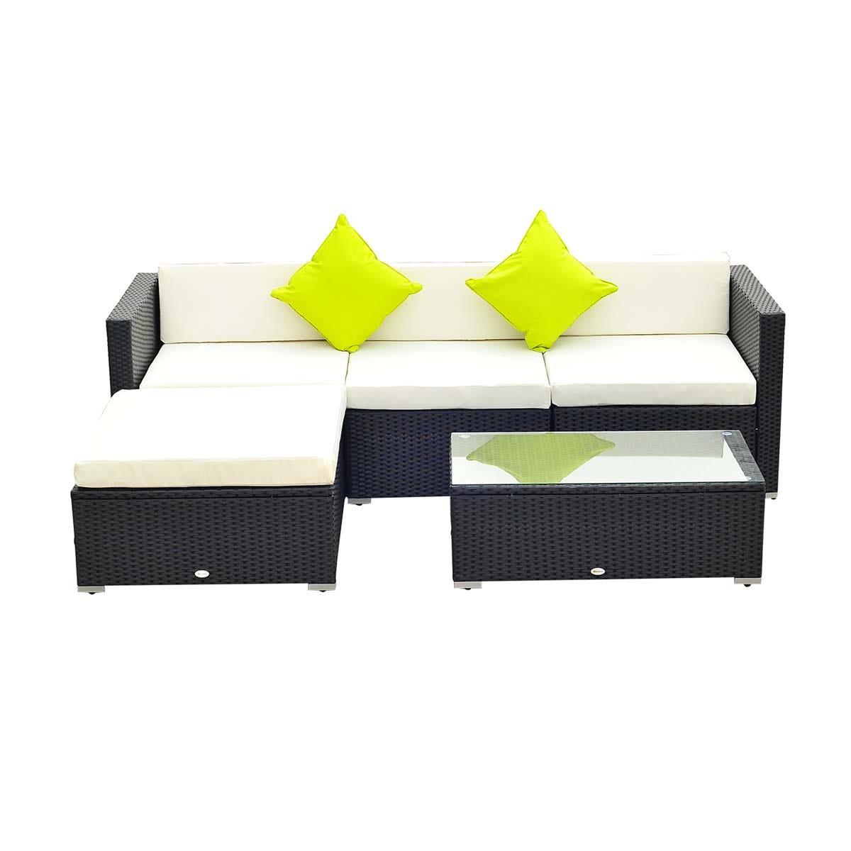 Outsunny 5 Piece Modular Rattan Sofa Set - Black