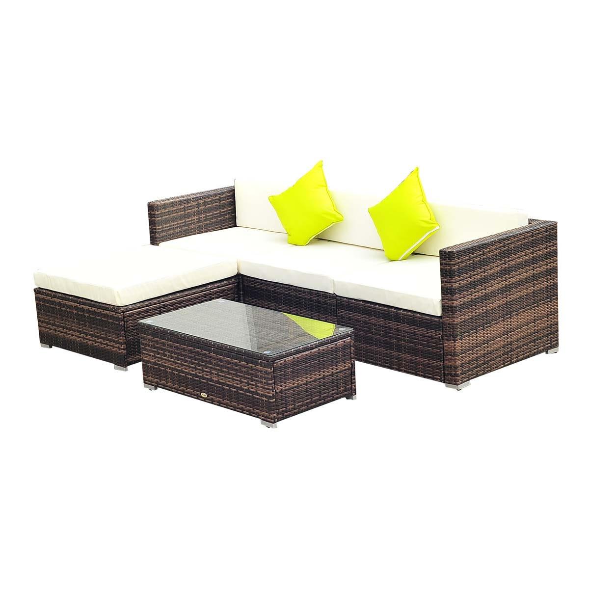 Outsunny 5 Piece Modular Rattan Sofa Set - Brown
