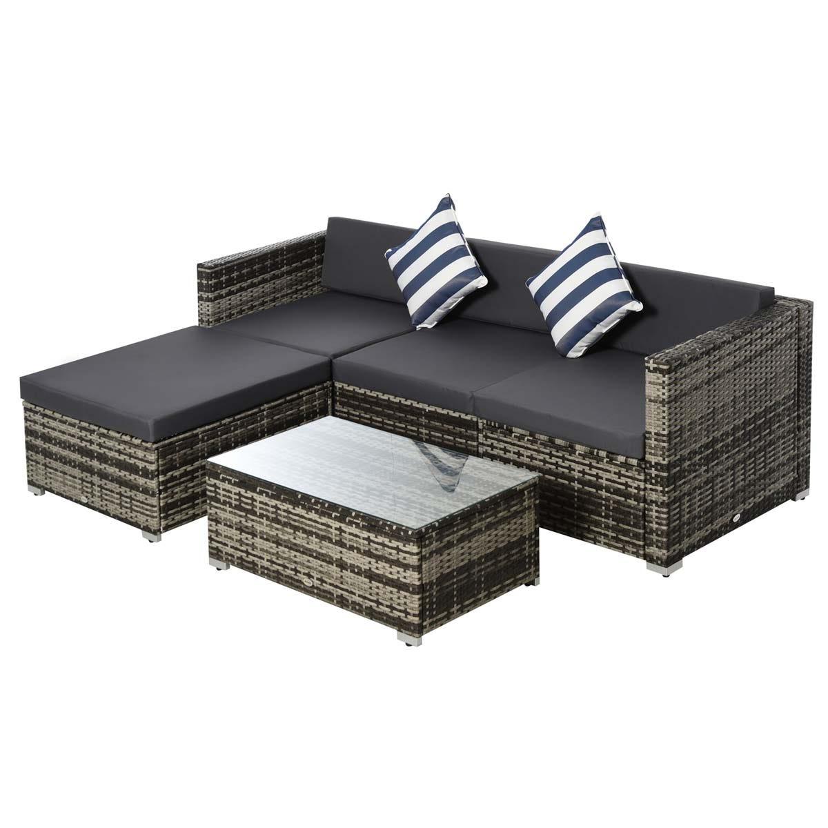 Outsunny 5 Piece Modular Rattan Sofa Set - Grey