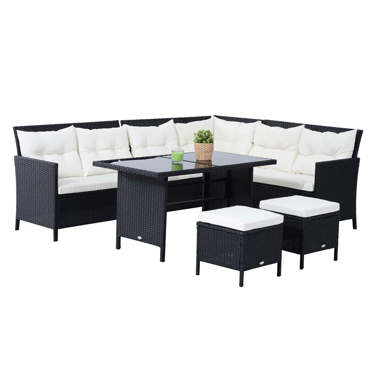 Outsunny 6 Piece Modular Rattan Sofa Set - Black
