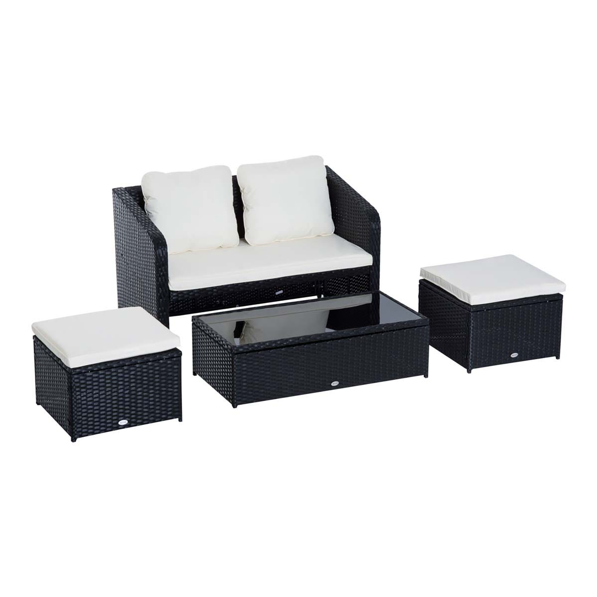 Outsunny 4 Piece Rattan Sofa Set with Height Adjustable Table - Black