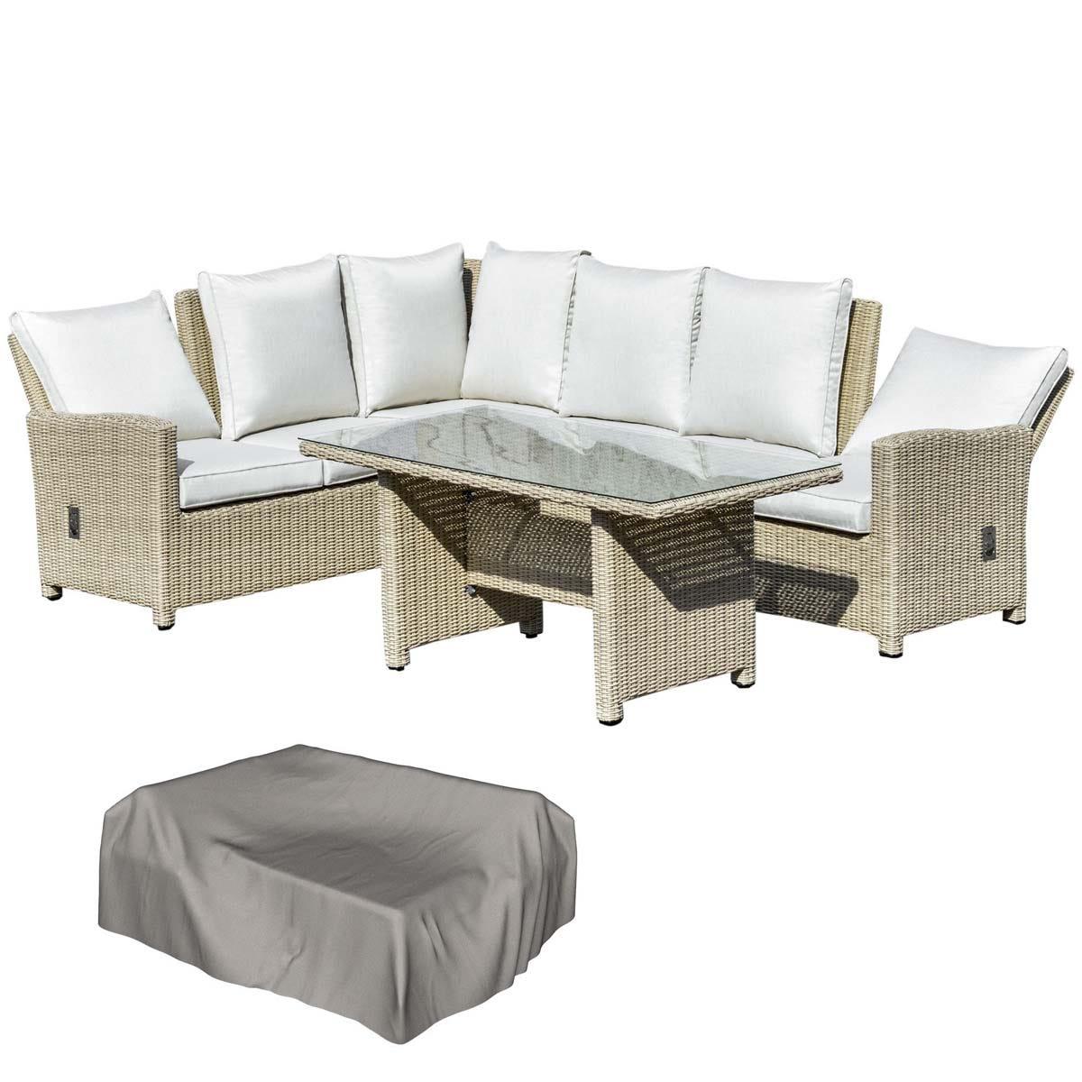 Outsunny 5 Piece Modular Rattan Corner Sofa Set with Cover - Natural
