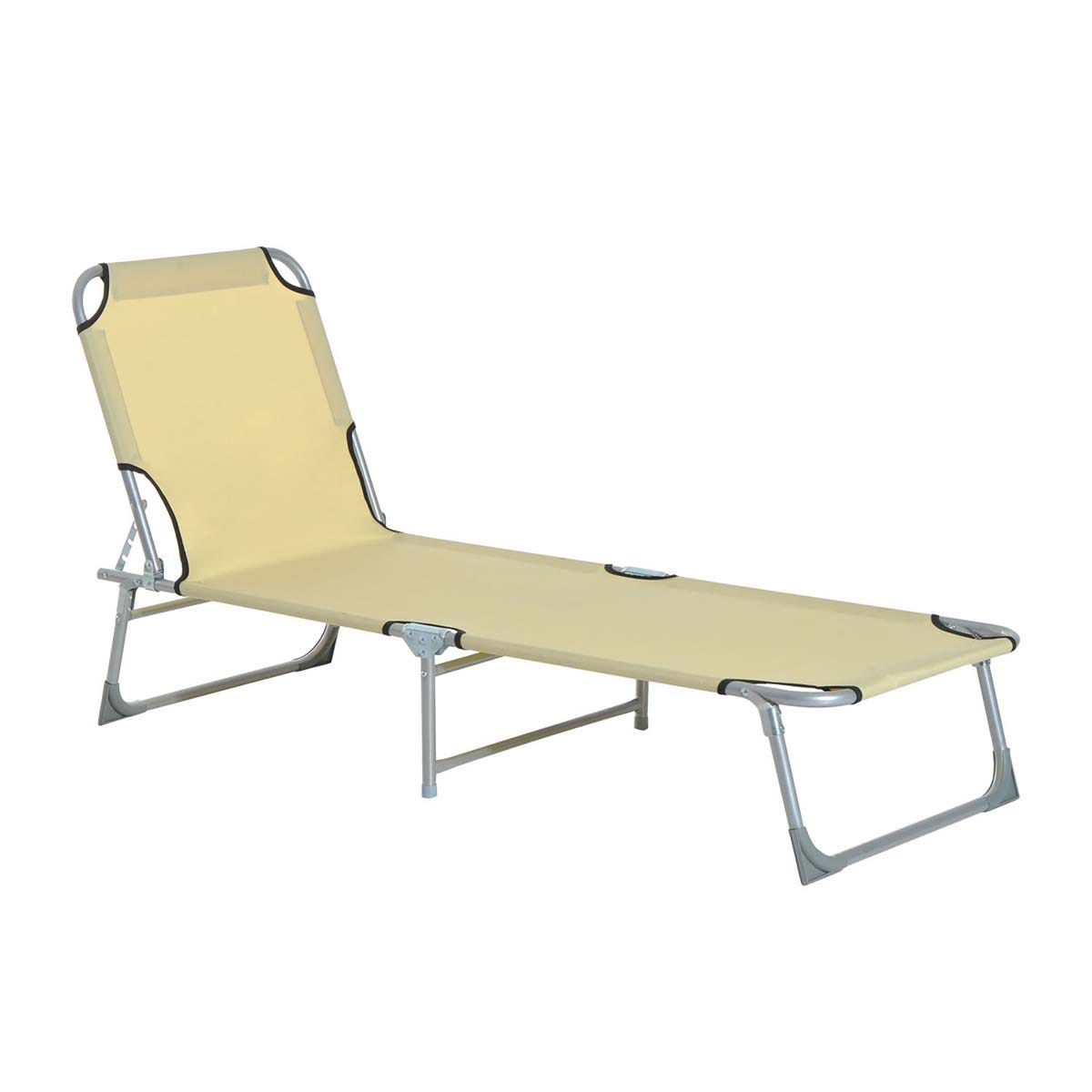 Outsunny Folding Sun Lounger - Beige