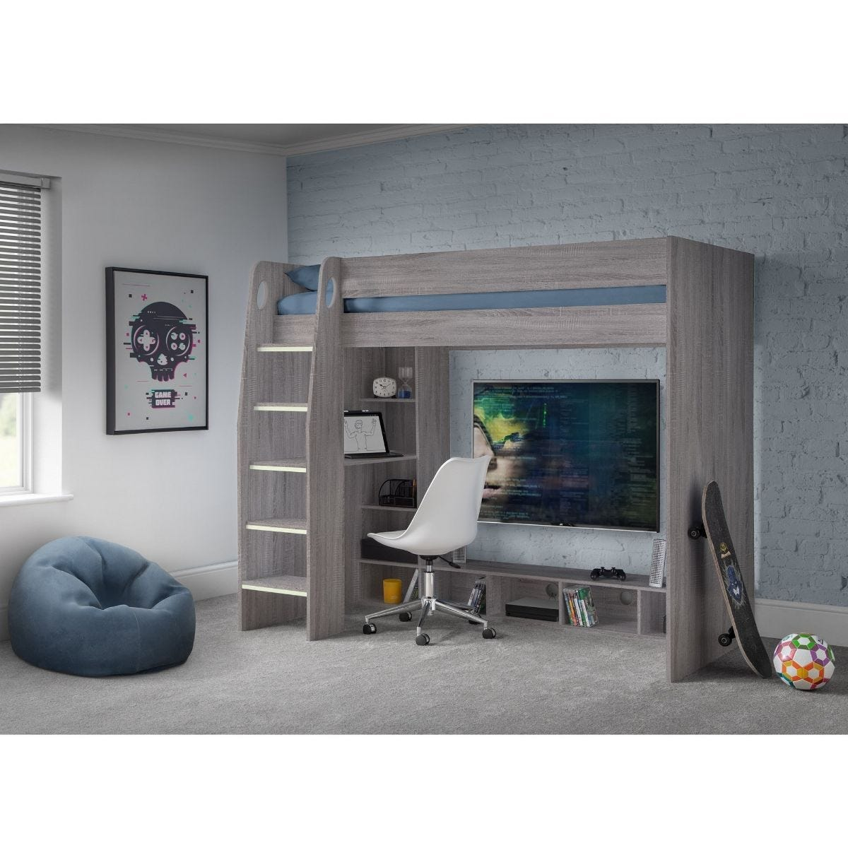 Julian Bowen Nebula Gaming Bed With Desk Grey Oak