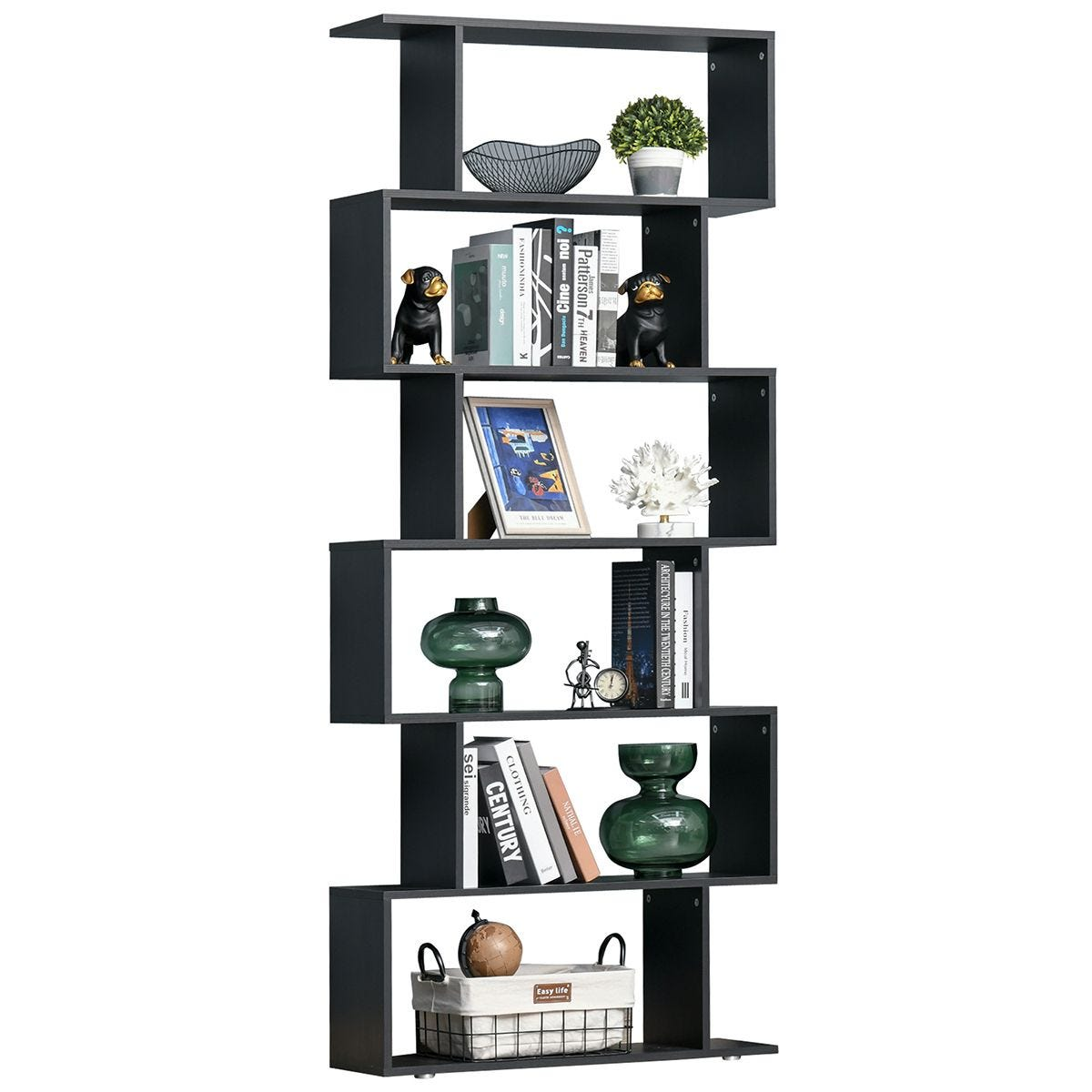 6 Tier Shelf Wood Effect Storage Bookcase S Shape Display Unit Black Wood Effect