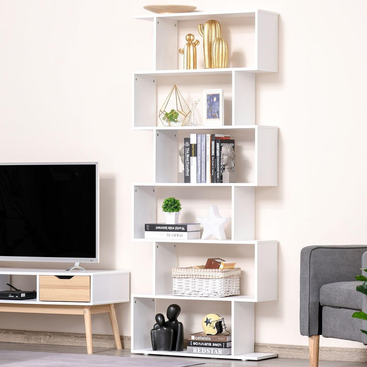 6 Tier Shelf Wood Effect Storage Bookcase S Shape Display Unit White Wood Effect