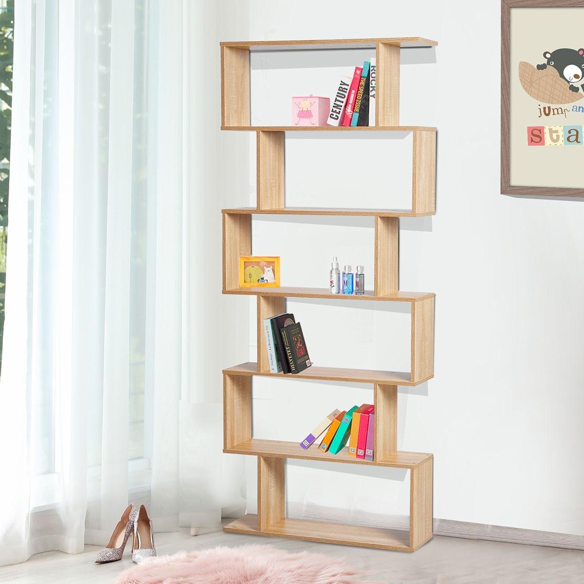 6 Tier Storage Shelf Modern S-Shape Design Stand Unit Storage Display Oak Effect