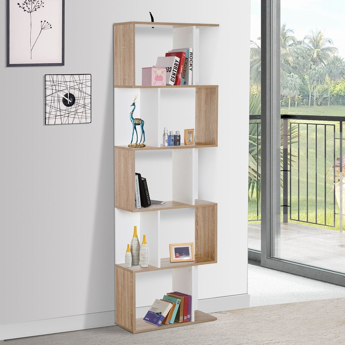5 Tier Bookcase Storage Display Shelving S Shape design Unit Divider Particle Wood Effect and White