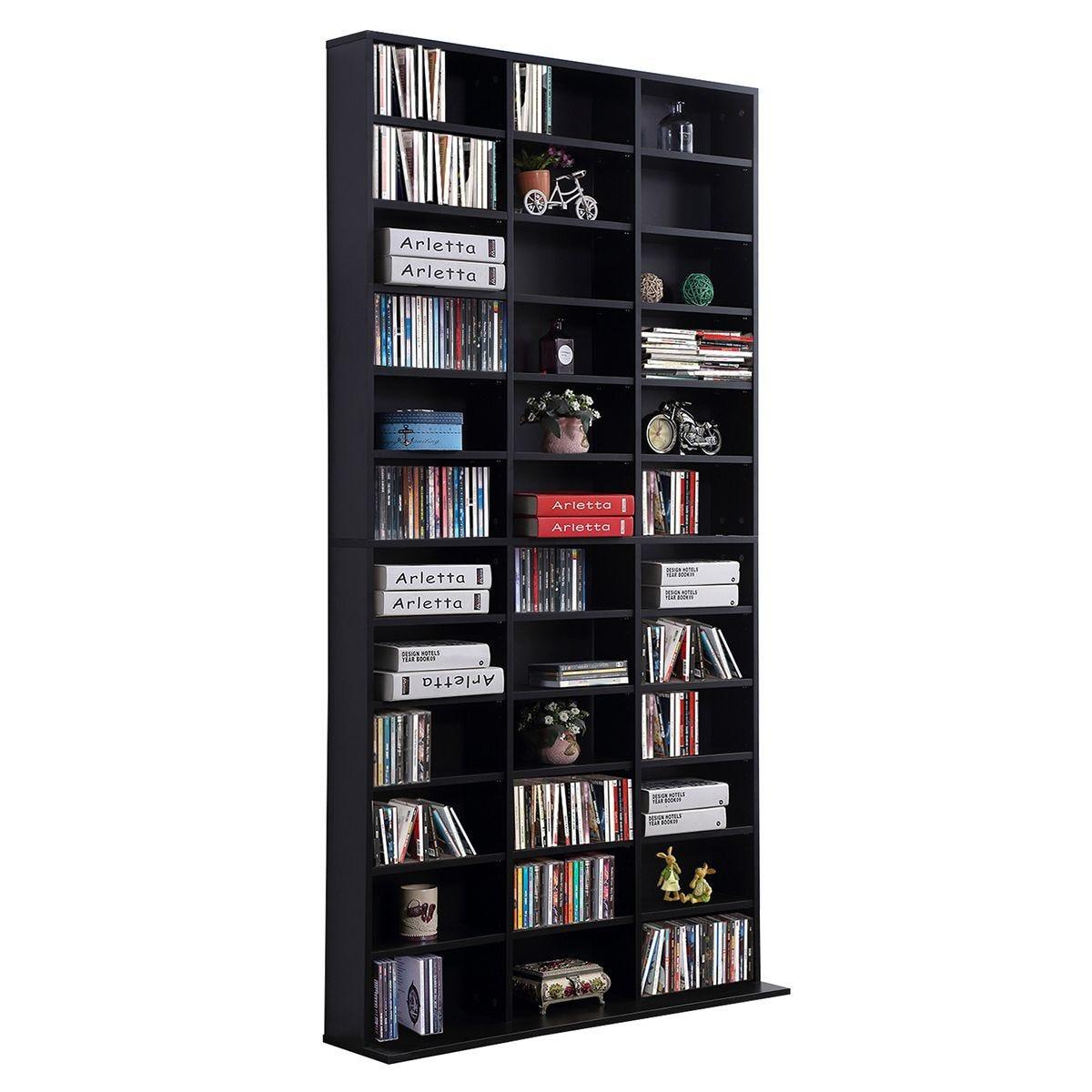 CD DVD Media Storage Display Unit Adjustable Black