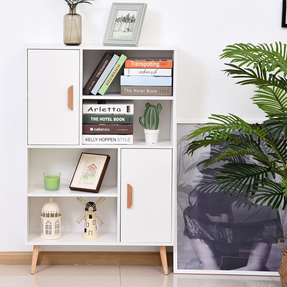 Free Standing Bookcase Shelving Unit With Two Doors Wooden Display White