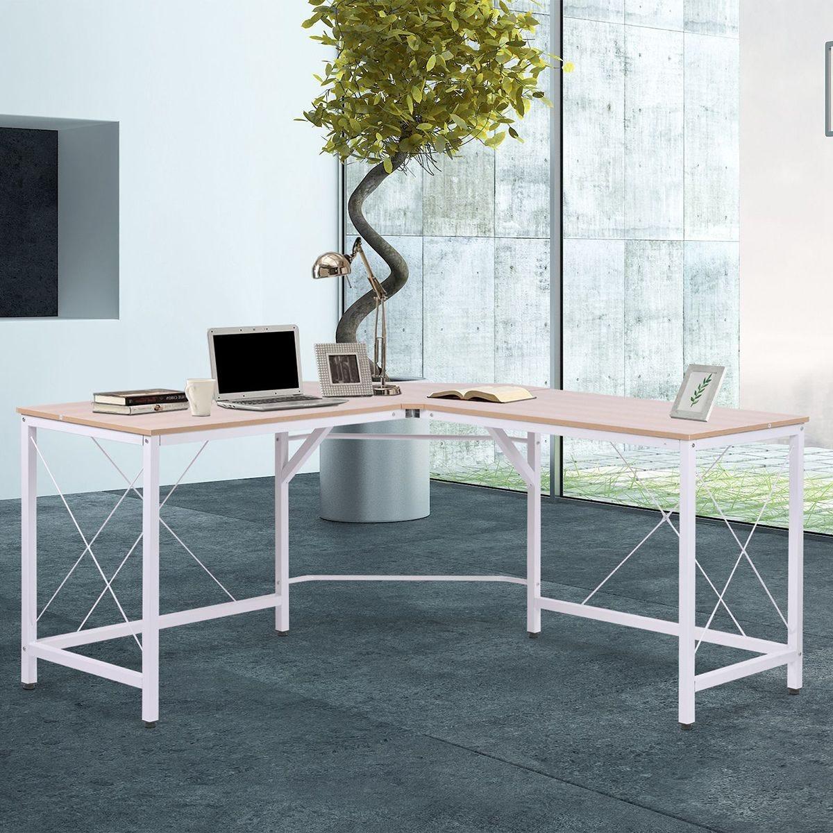 Corner L Shape Desk Workstation Home Office Oak Effect and White