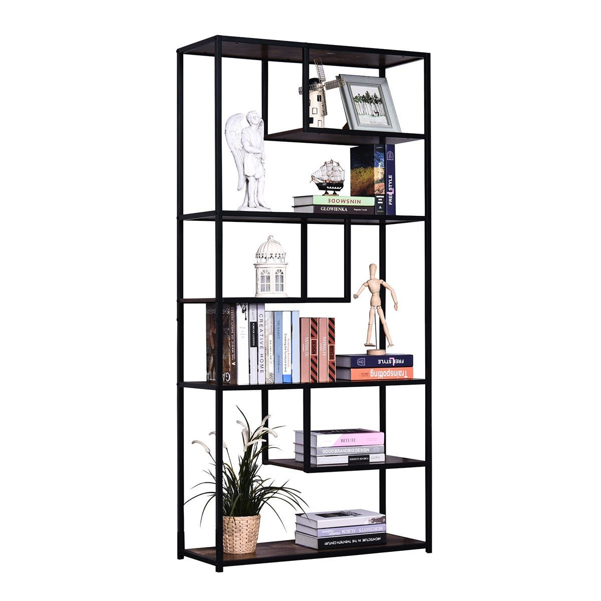 Industrial Style Bookcase Shelving Display Unit 6 Tier Rustic Brown and Black