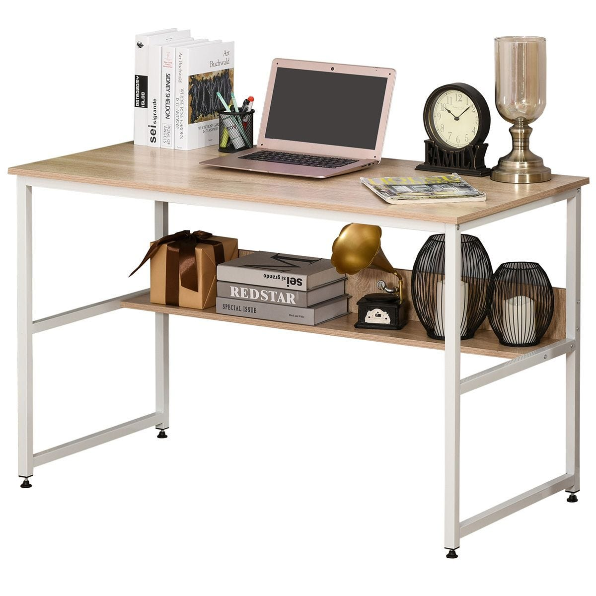 Two Tier Writing Desk For Home Office Metal Frame With Storage Shelf Oak Effect