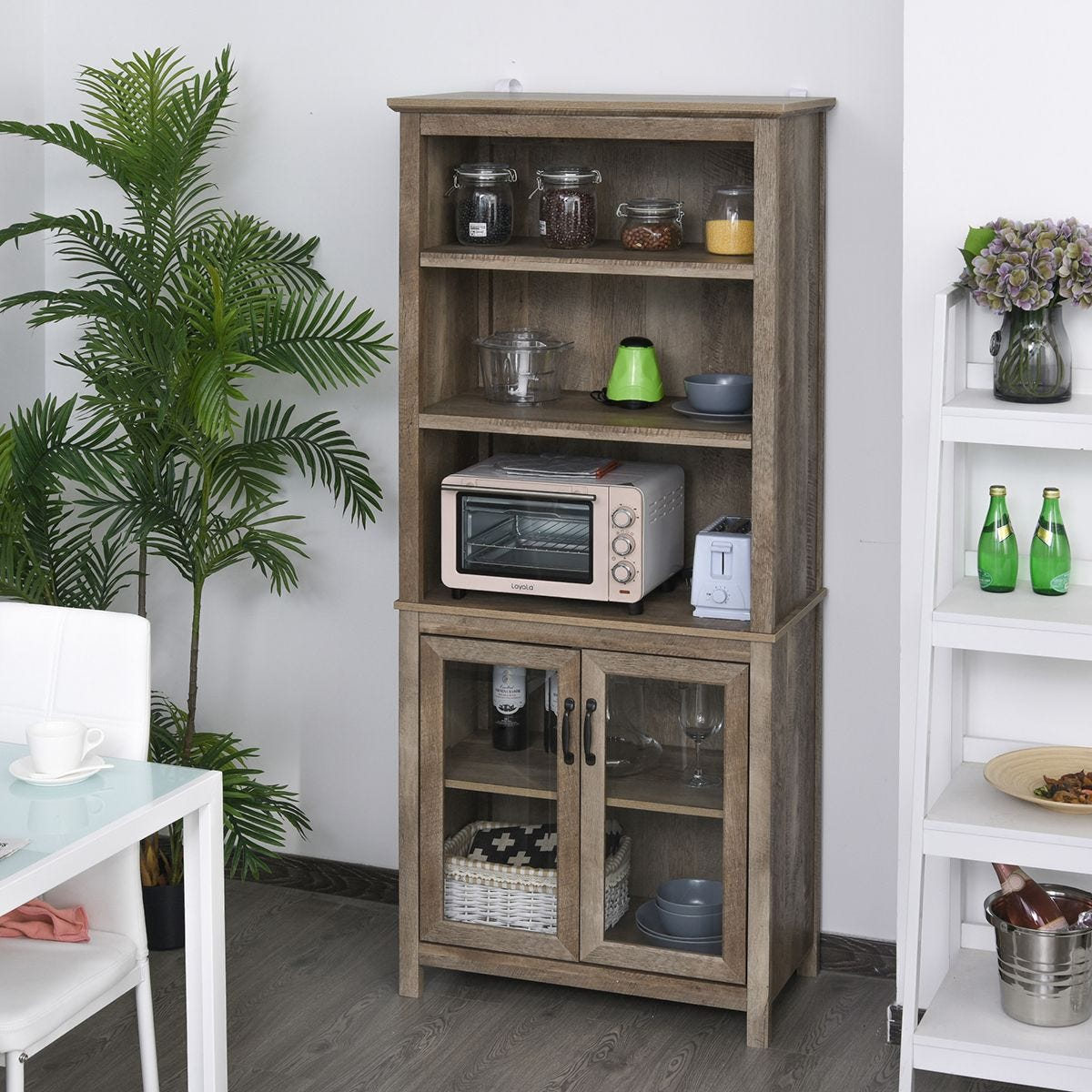 180x76cm Home Storage Unit With 3 Shelves Glass Door Cabinet Bookcase Display