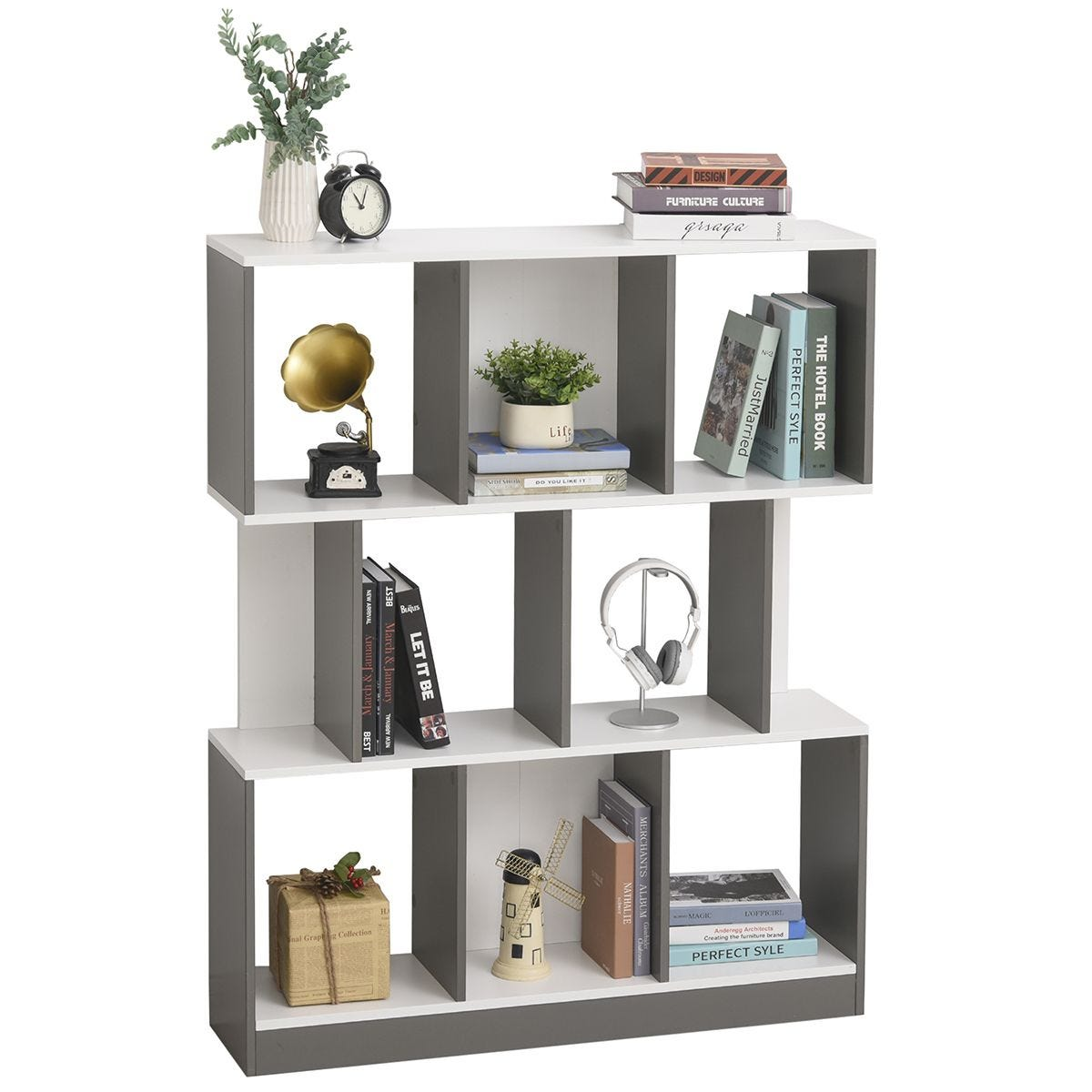 3 Tier 8 Cube Home Office Display Unit Bookcase Shelving With Anti Tip Straps White And Grey