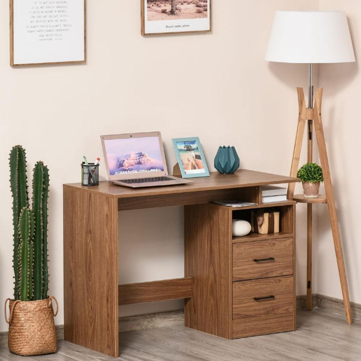 Computer Desk With Shelf Drawer For Home Office Brown Wood Grain Effect