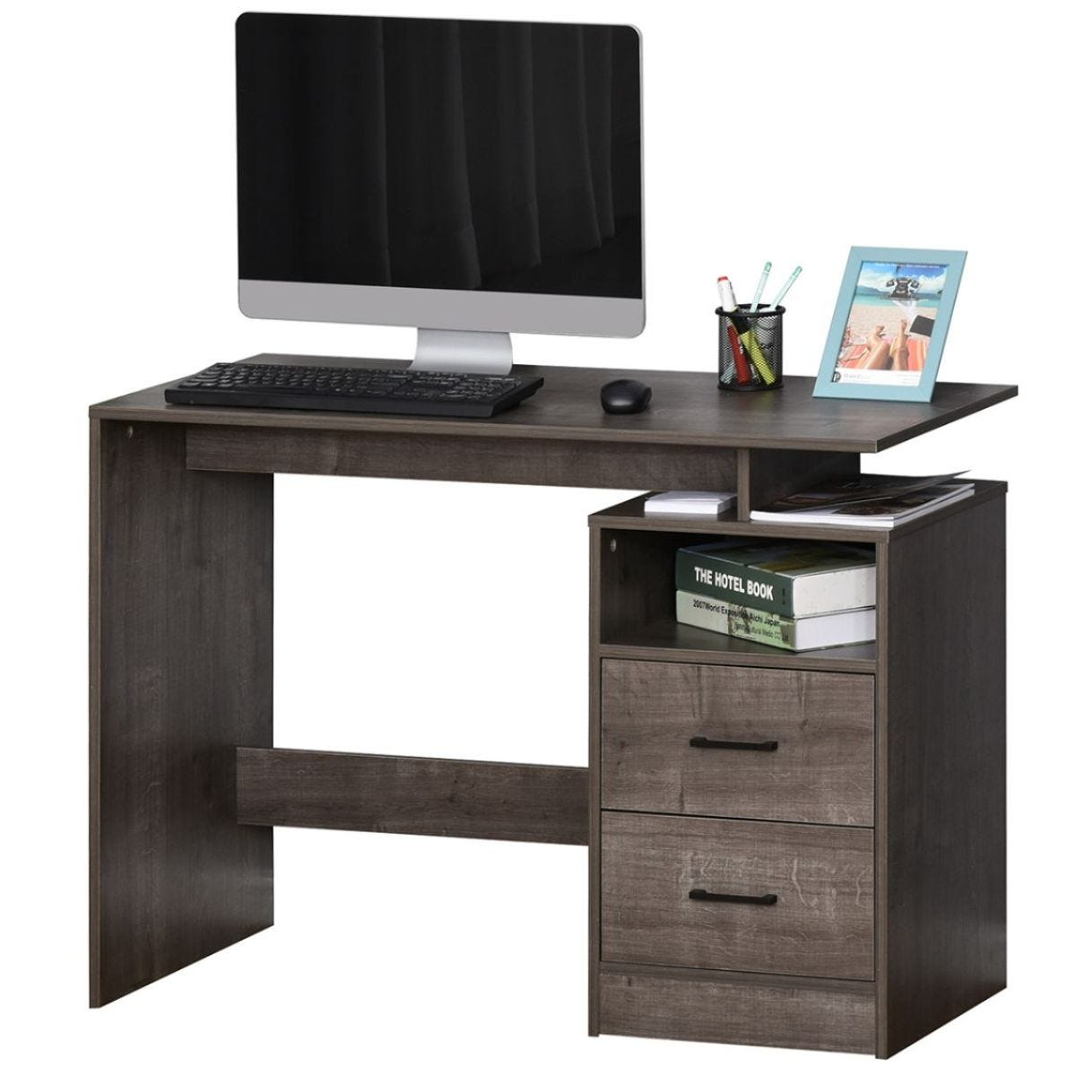 Computer Desk With Shelf Drawer For Home Office Grey Wood Grain Effect
