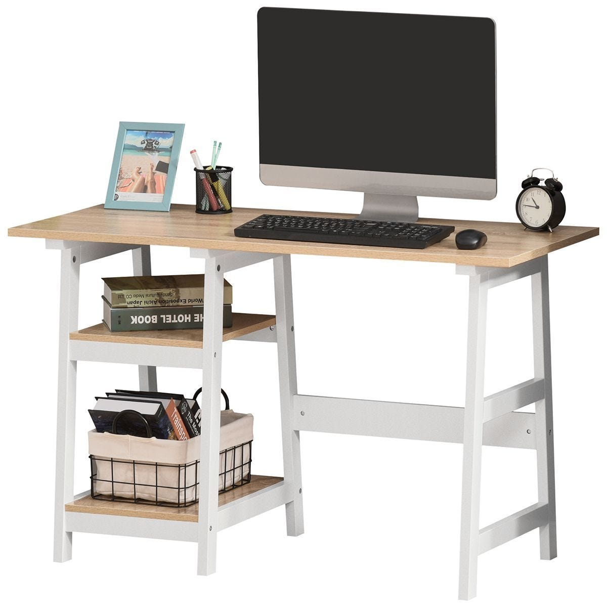Compact Computer Desk With Shelf For Home Office Oak Effect And White