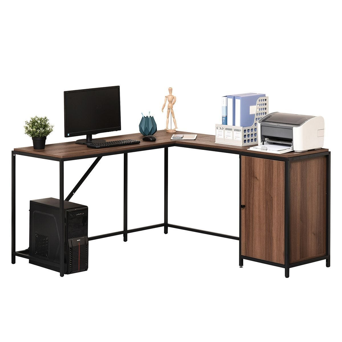 L Shape Computer Corner Desk PC Table Workstation With Cabinet for Home Office Walnut