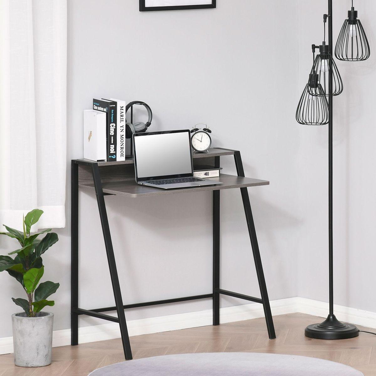 2 Tier Workstation Computer Desk With Storage Shelf Black Grey