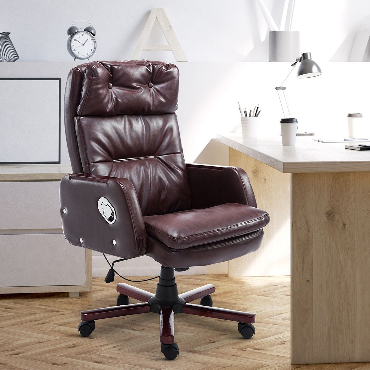 Faux Leather Office Chair Executive Swivel With Arm Wheel Brown