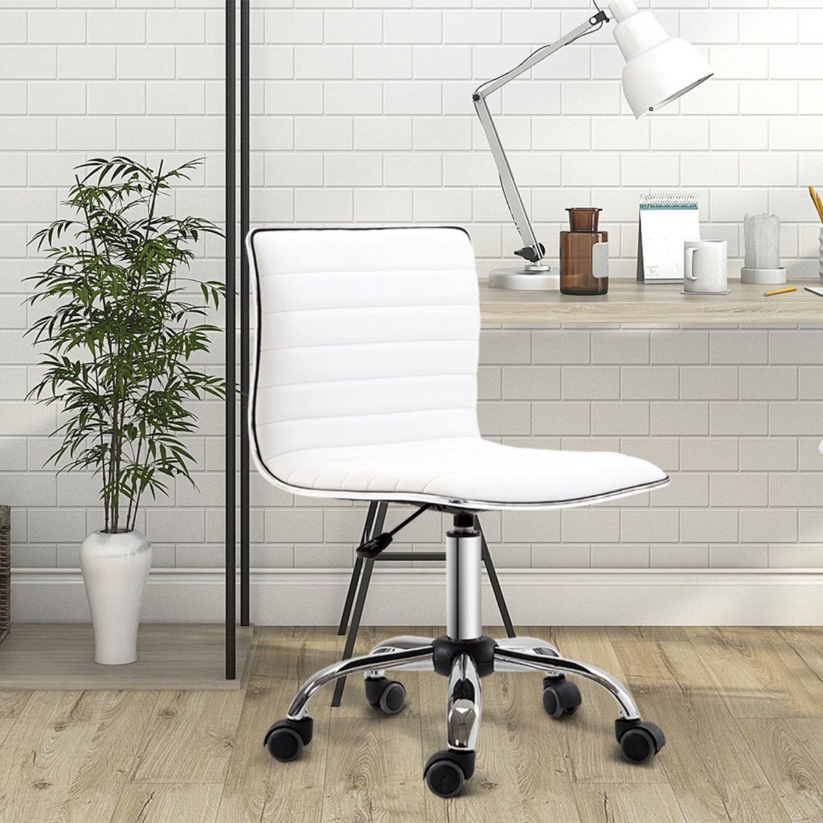 Ergonomic Executive Office Chair Computer Armless PU Wheels 360 Swivel White