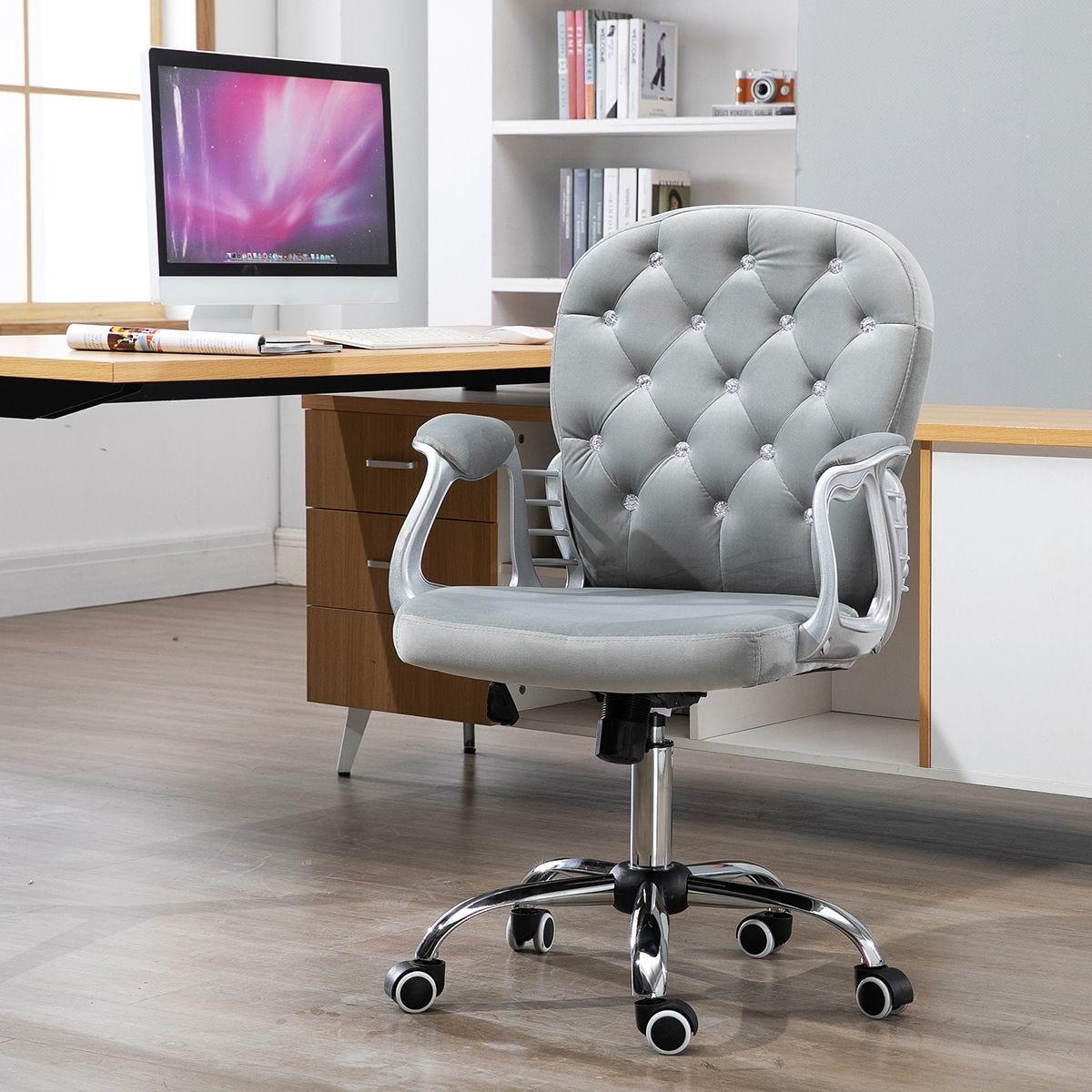 Office Chair Luxury Velour Diamante Tufted Padded Ergonomic 360 Swivel Grey