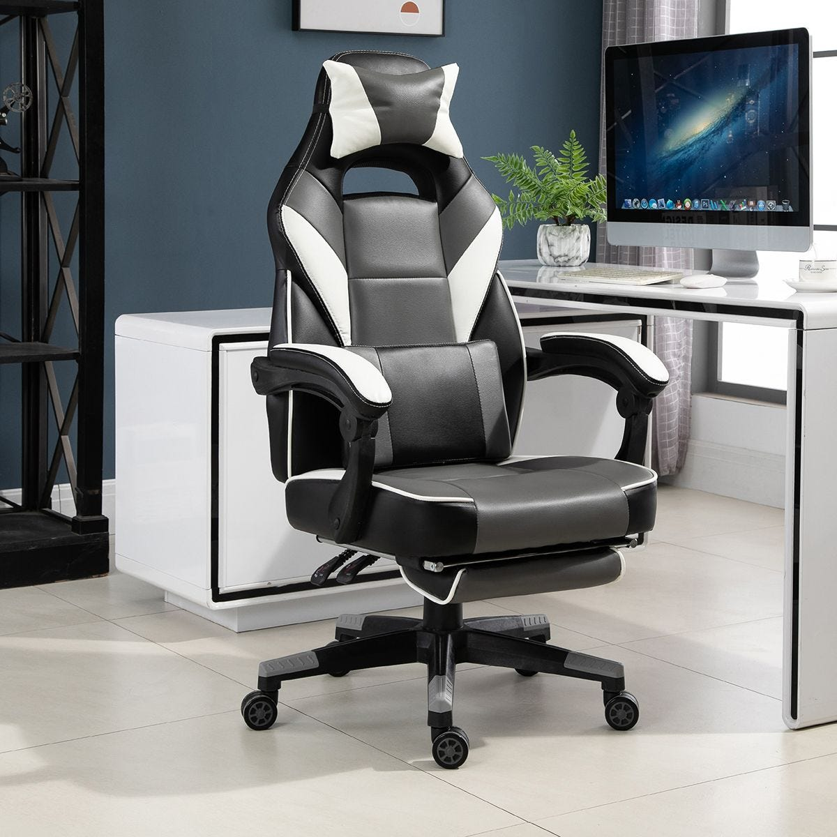 Gaming Office Chair Ergonomic With Padding Footrest Neck Back Pillow Grey