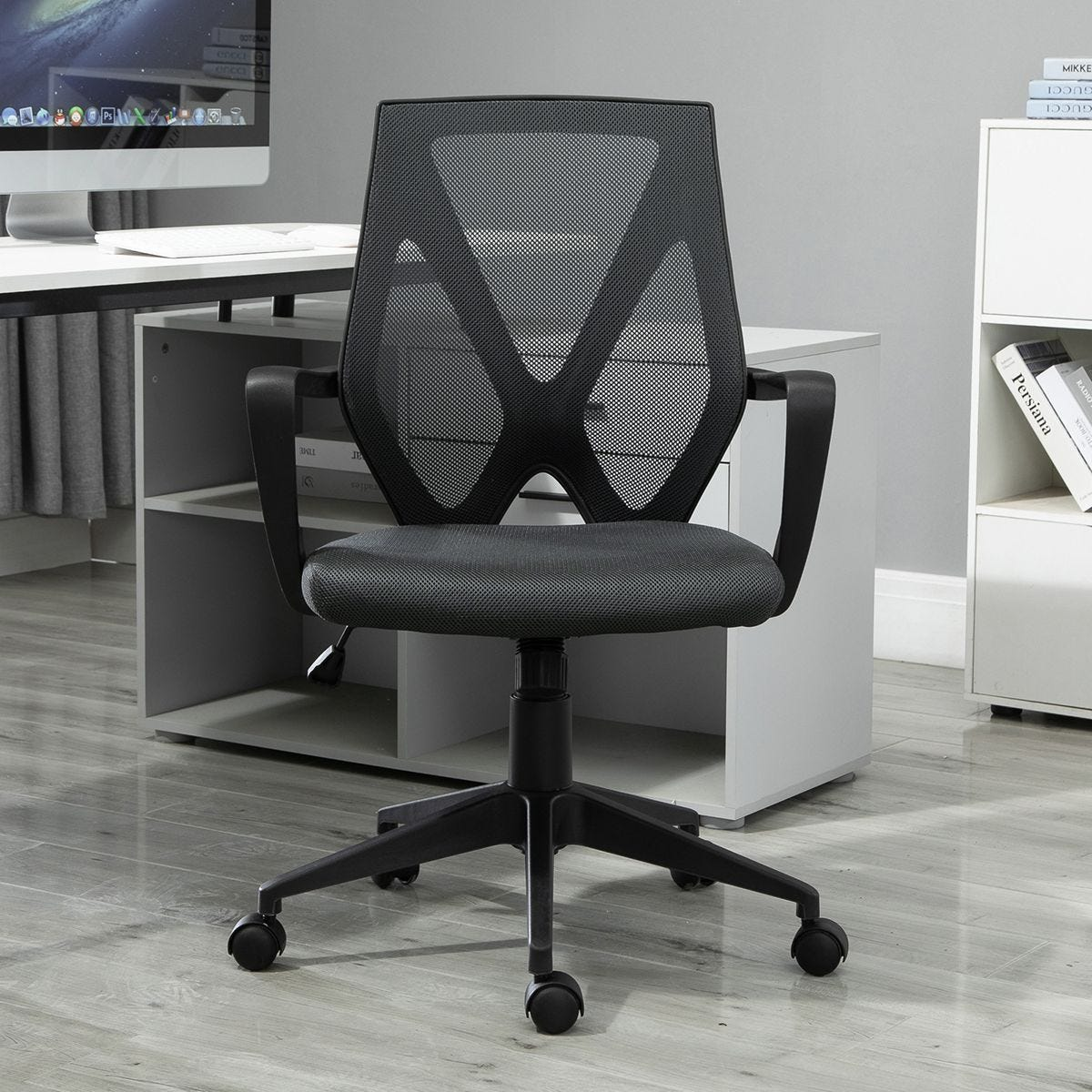 Ergonomic Mesh Office Chair Adjustable Height Padded Seat Armrests 5 Wheels Grey