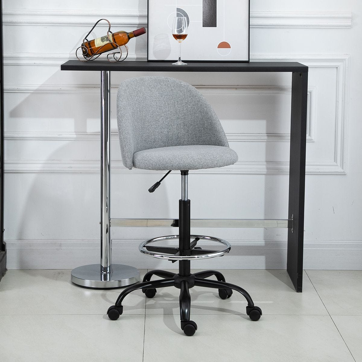 97cm Tall Home Office Chair Ergonomic With 5 Wheels Padded Grey