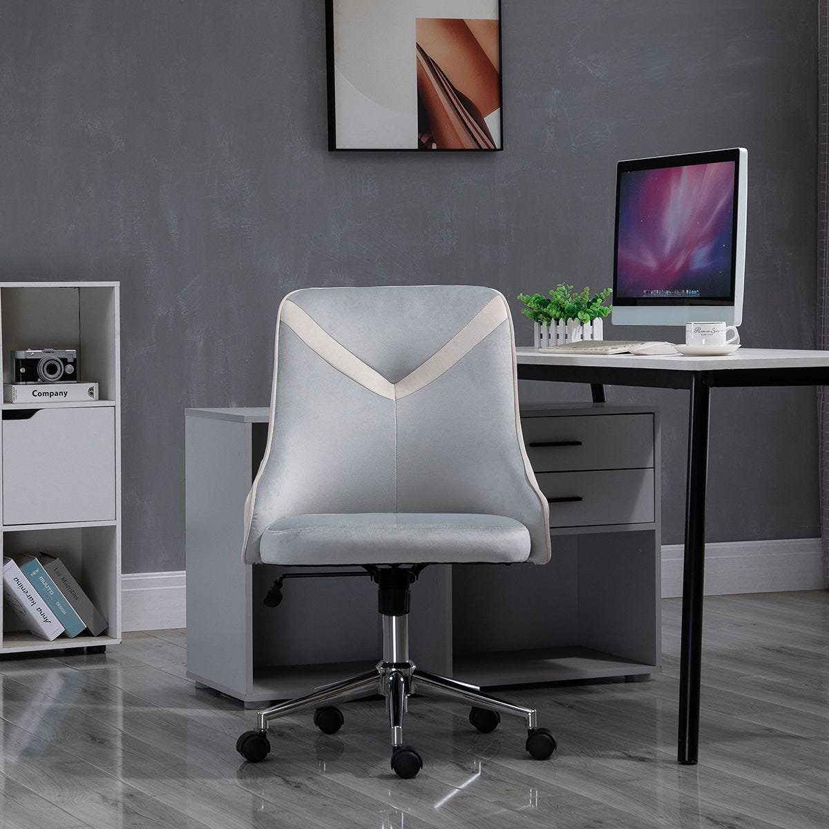 Office Chair Velvet Armless Rocker With Wheels Grey And Beige