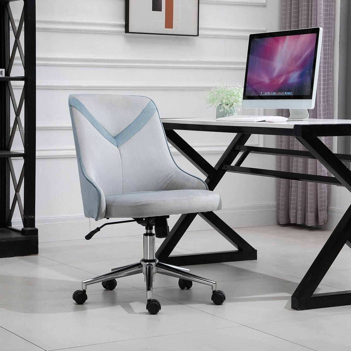Office Chair Velvet Armless Rocker With Wheels Grey And Blue