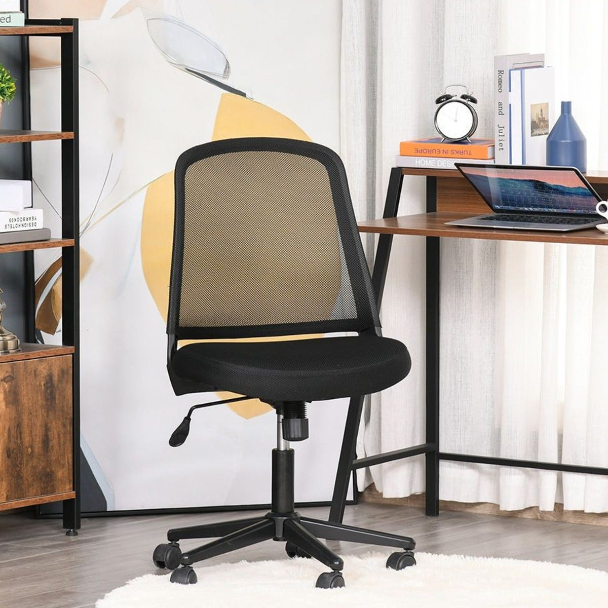 Mid Back Office Chair Mesh Fabric Armless With Wheels Black