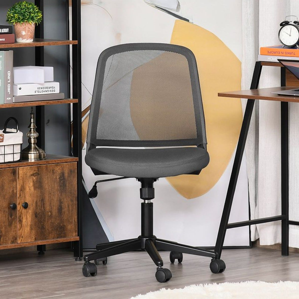 Mid Back Office Chair Mesh Fabric Armless With Wheels Grey