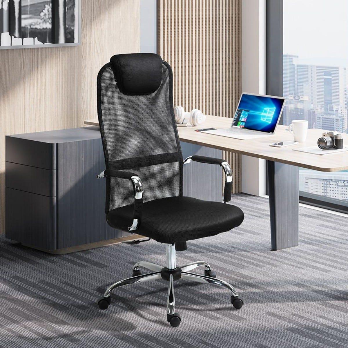 Office Chair Mesh Fabric Swivel Rocker With Wheels Black