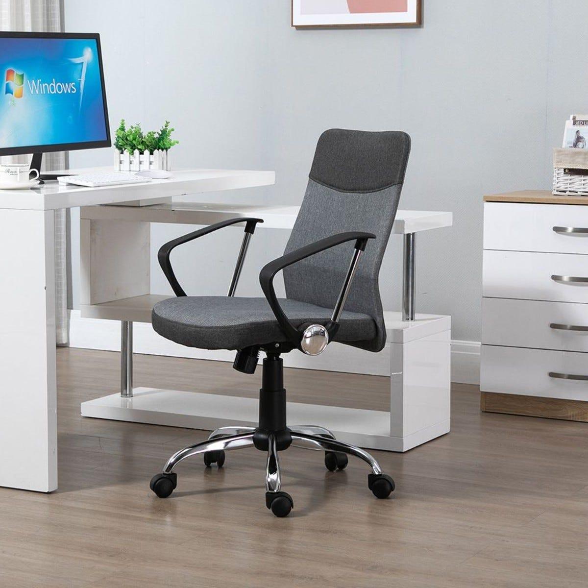 Office Chair Mesh Fabric Swivel Rocker With Wheels Grey