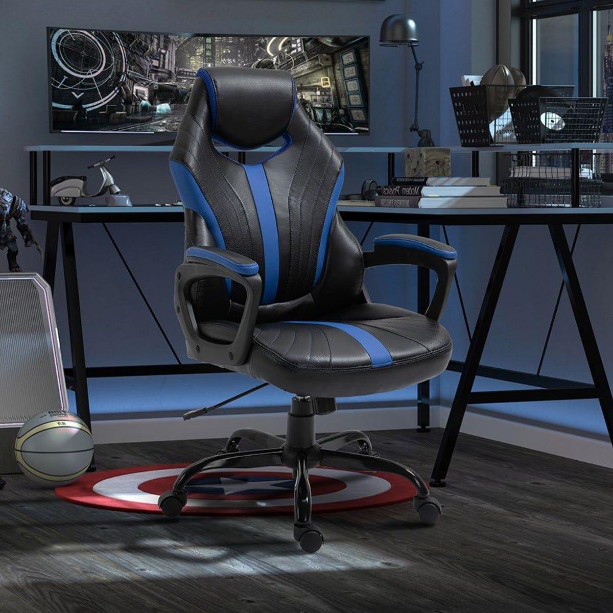 Gaming Chair Swivel Gamer Desk Chair Black Blue