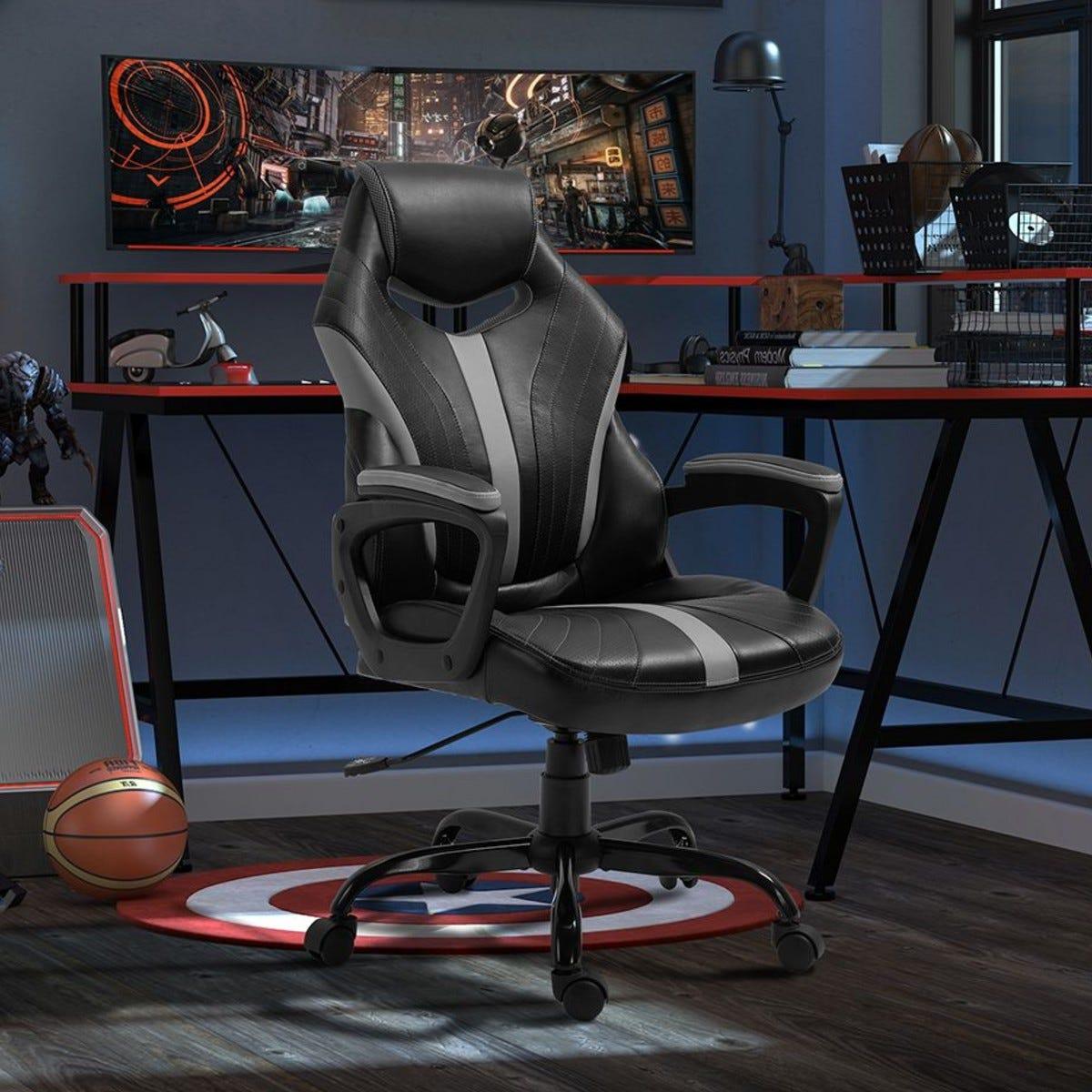 Gaming Chair Swivel Gamer Desk Chair Black Grey
