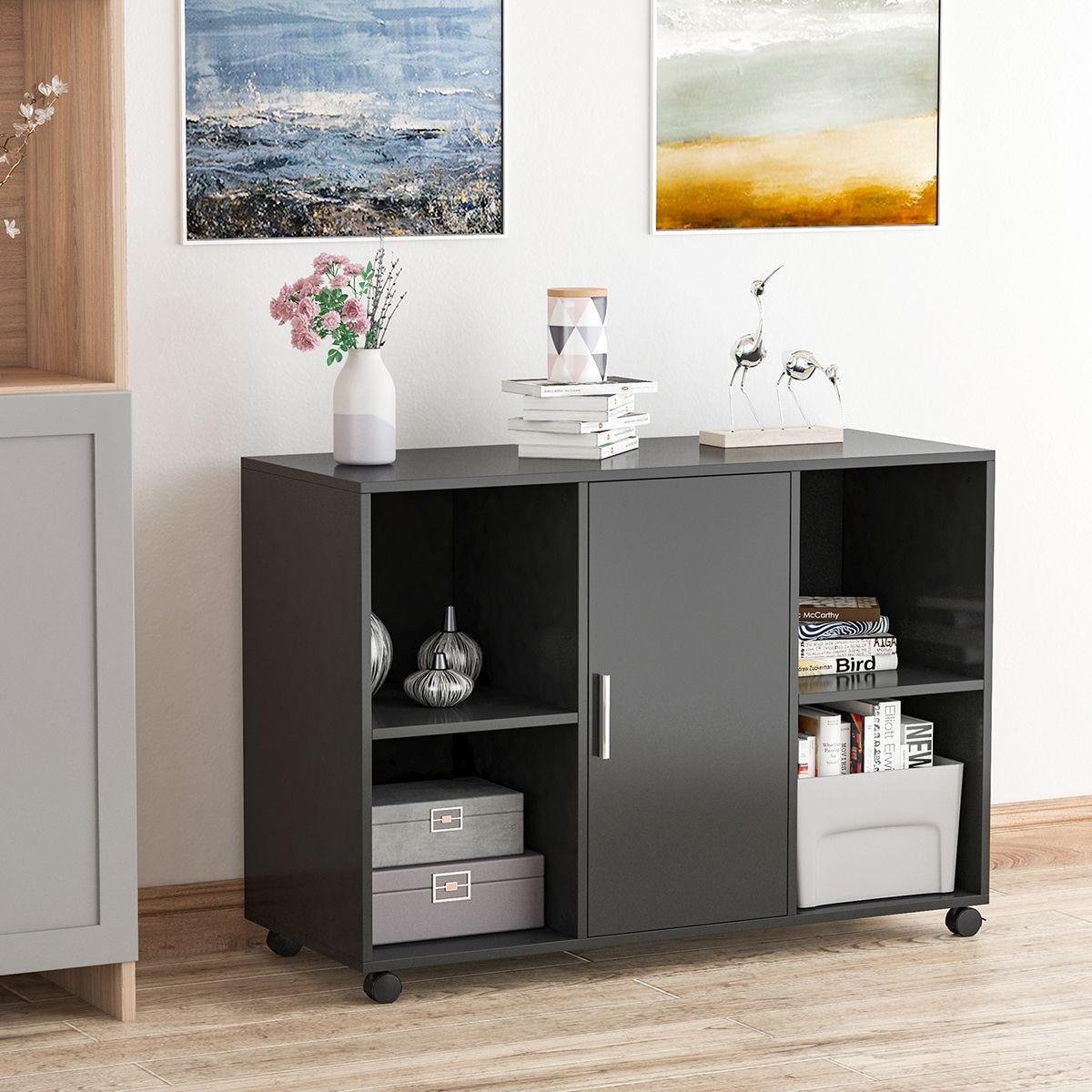 Mobile Office File Cabinet Printer Stand Unit With Castors Black