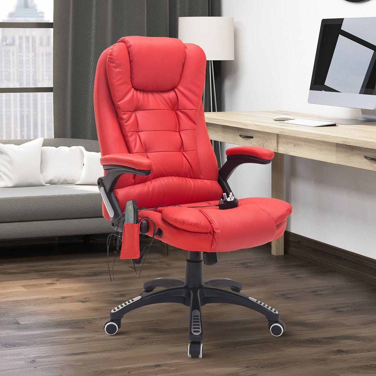 Faux Leather Vibrating Massage Office Swivel Chair With Remote Control Red