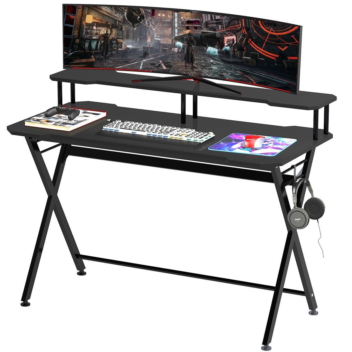 Gaming Computer Desk With Headset Hook Curved Black