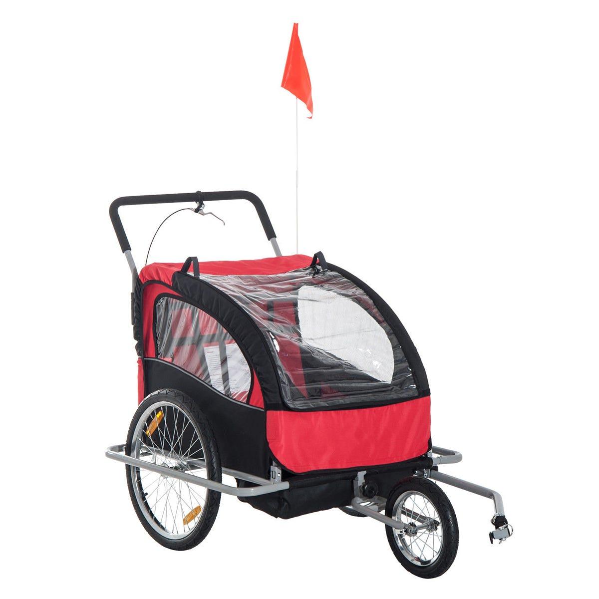 Reiten 2-in-1 Collapsible 2-Seater Kids Stroller & Bike Trailer with Pivot Wheel - Black/Red
