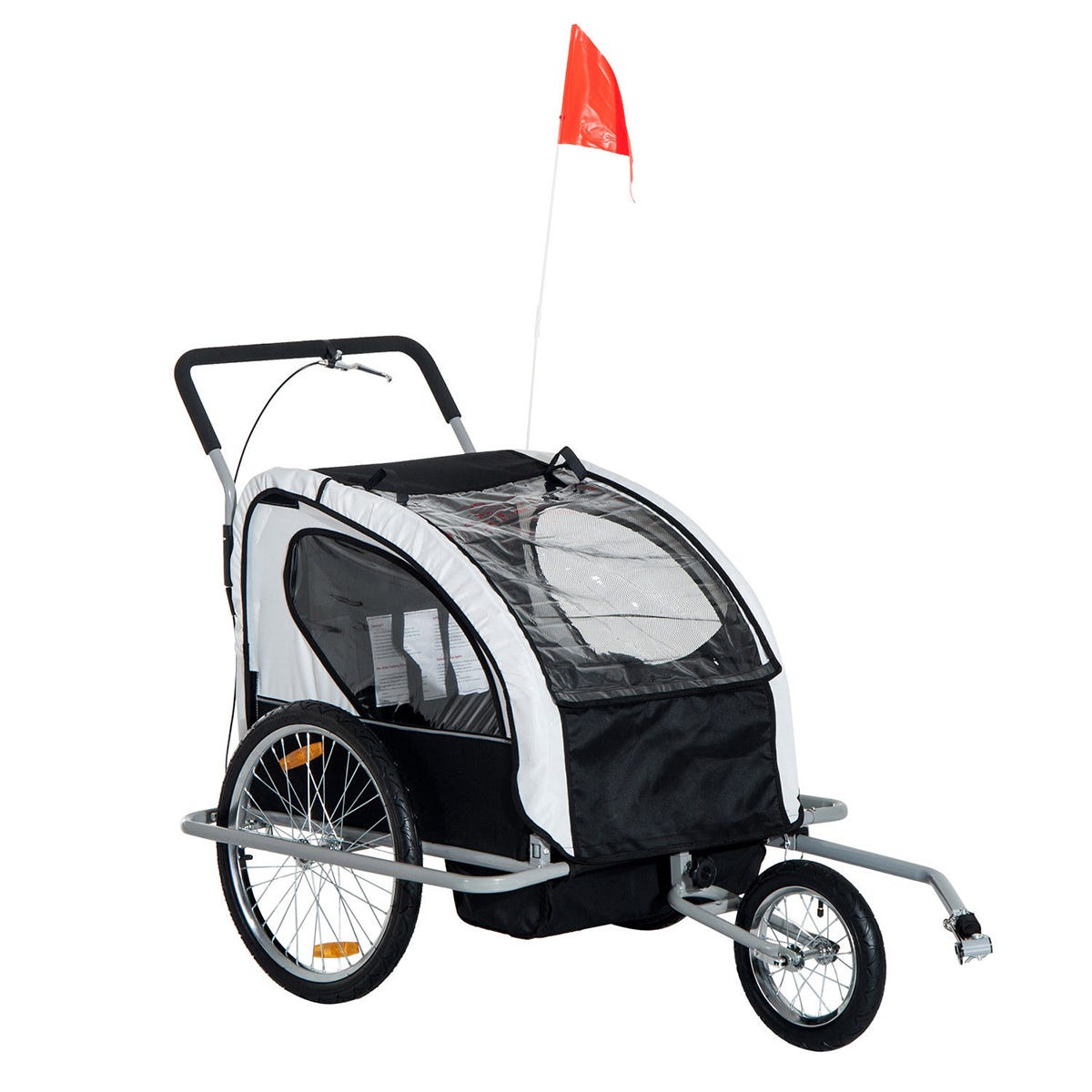 Reiten 2-in-1 Collapsible 2-Seater Kids Stroller & Bike Trailer with Pivot Wheel - Black/Grey