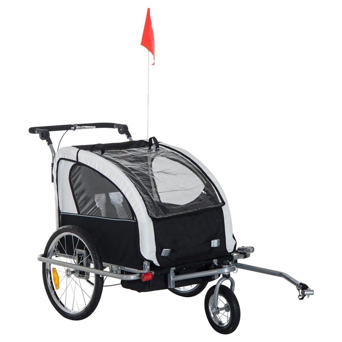 Reiten 2-In-1 2-Seater Kids Stroller & Bike Trailer - Black/White