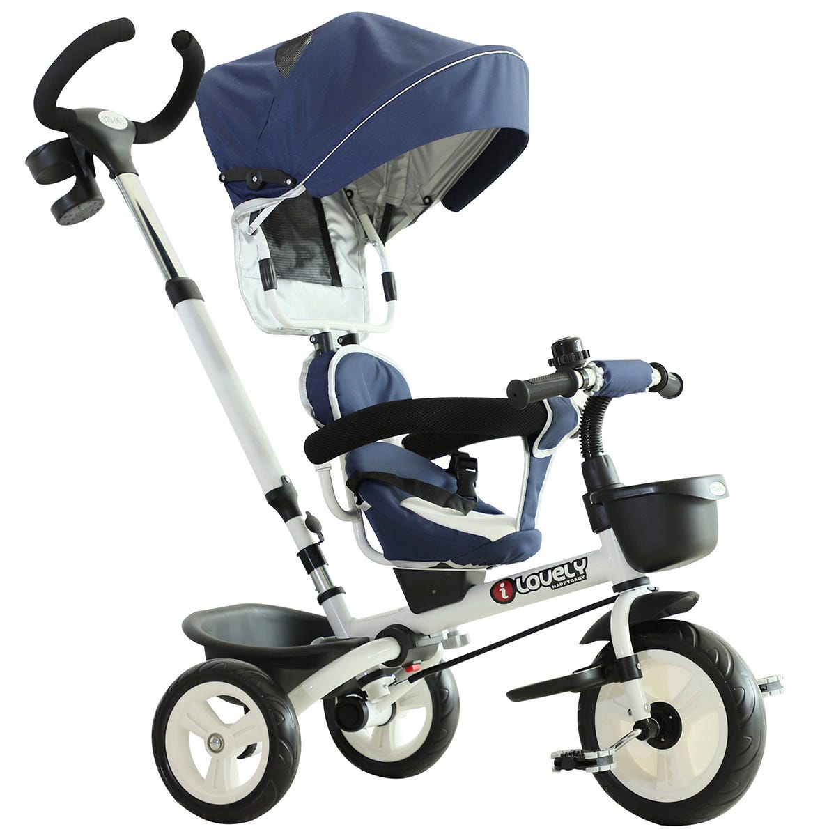 Reiten 4-in-1 Kids Tricycle & Stroller with Canopy - Blue