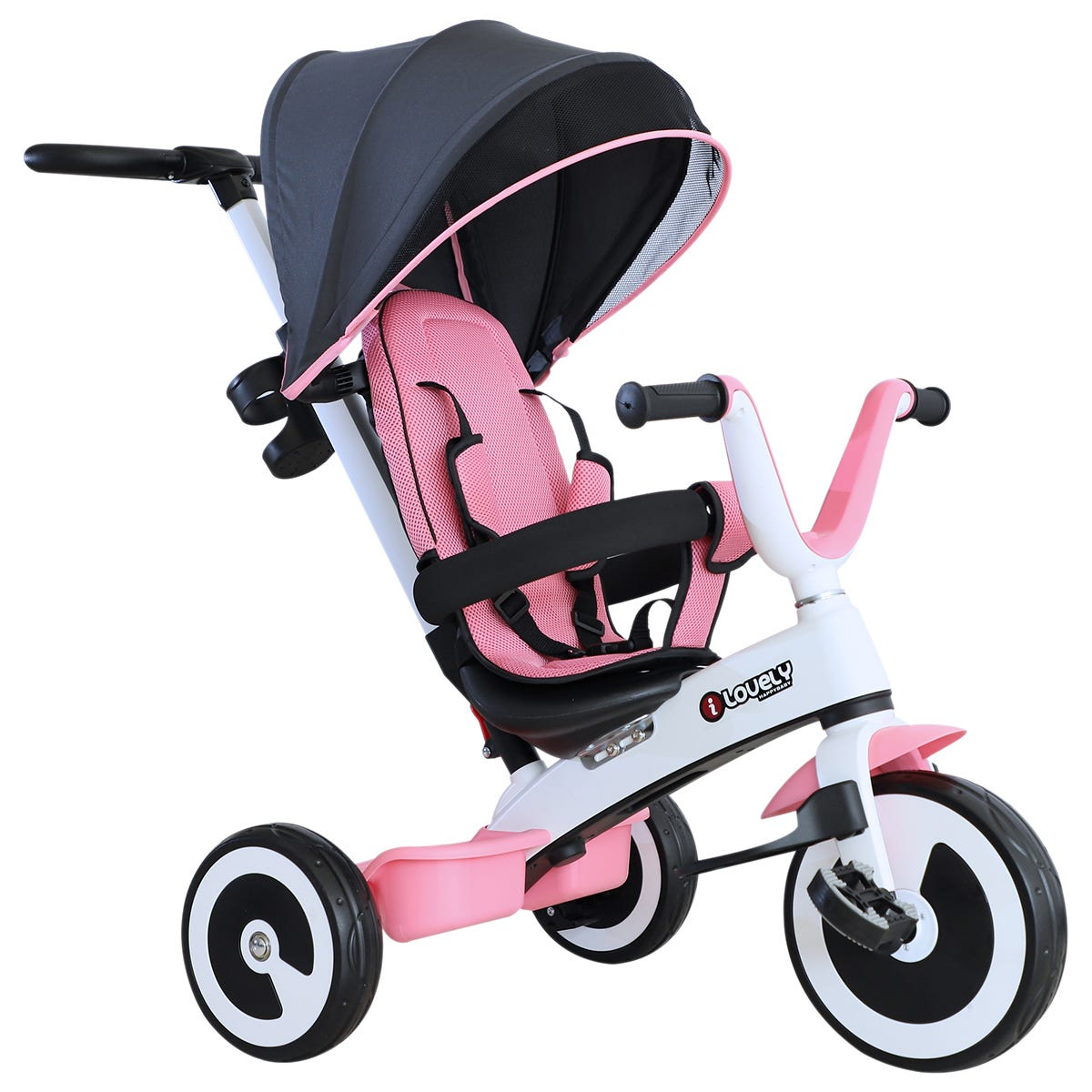 Reiten 4-in-1 Baby Tricycle & Stroller with Canopy - Pink